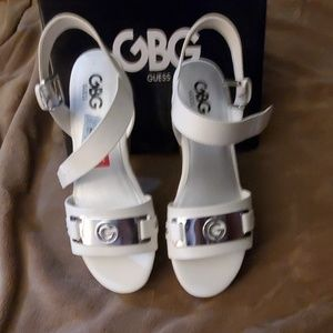 Guess white and silver wedges